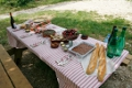 A picnic lunch waiting for SlowGlobe hikers in Provence